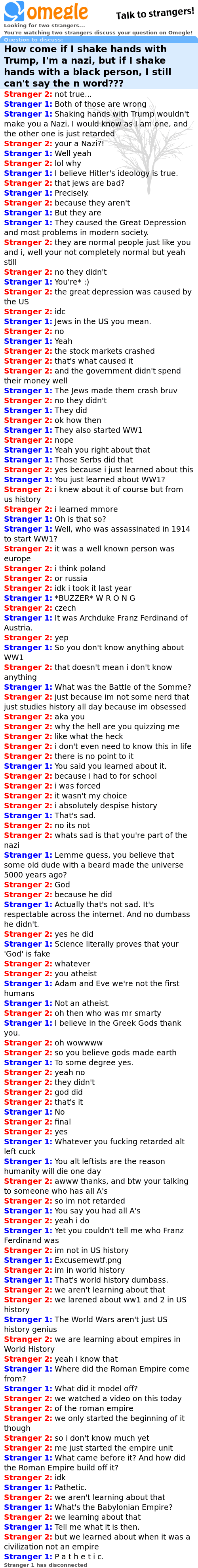 Omegle chat log